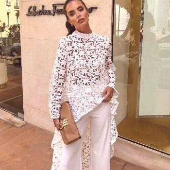 2019 Fashion Irregular Hollow Out Floral Lace Dress Women Summer Long Sleeve White Female Dresses C