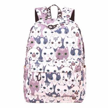 2020 new women printed lovely cats canvas backpacks laptop backpacks large size travel bags casual