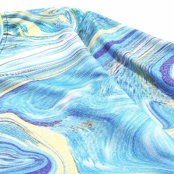 Agate Print Round Neck Casual T-shirt  DODGER BLUE ,