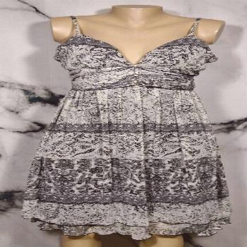 A.P.N.Y. Black White Gray Mixed Lace Print Dress 10 Padded Bust Attached Ties