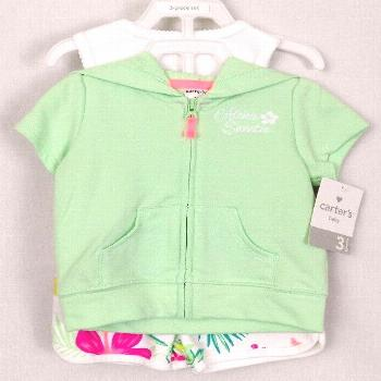 Carters Baby Girl Size 3 Months 3 Piece Summer Outfit Hoodie Bodysuit Shorts New
