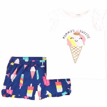 Carter's Baby Girls 2-Pc. Ice Cream Cone Cotton Top & Printed Shorts Set - White