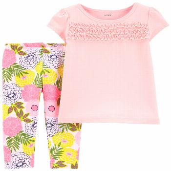 Carter's Baby Girls 2-Pc. Textured Top & Floral-Print Leggings Set - Pink