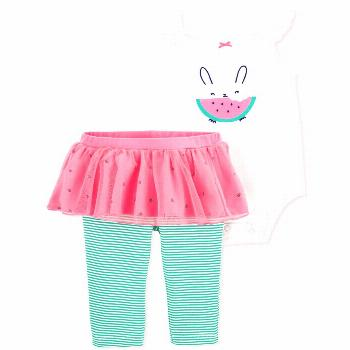 Carter's Baby Girls 2-Pc. Watermelon Bodysuit & Tutu Leggings Set - Pink