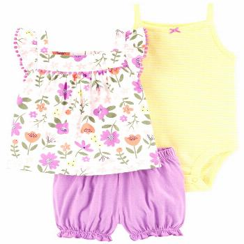 Carter's Baby Girls 3-Pc. Cotton Bodysuit, Floral-Print Tunic & Shorts Set - Purple
