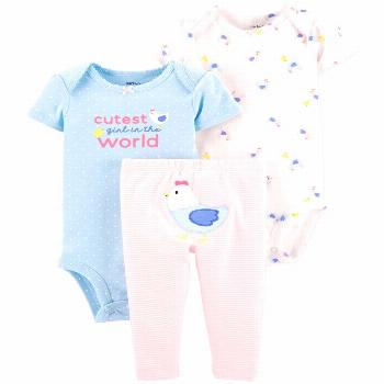 Carter's Baby Girls 3-Pc. Cotton Chicken Bodysuits & Striped Pants Set - Pink