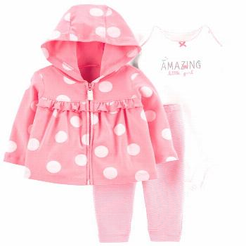 Carter's Baby Girls 3-Pc. Cotton Dot-Print Hoodie, Bodysuit & Pants Set - Pink