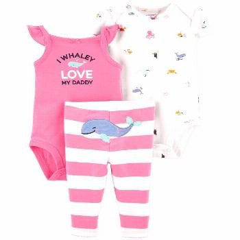 Carter's Baby Girls 3-Pc. Cotton Whale Bodysuits & Striped Pants Set - Pink