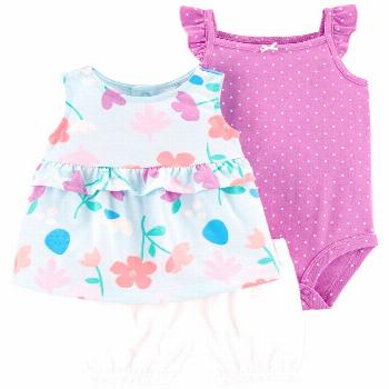 Carter's Baby Girls 3-Pc. Dot-Print Cotton Bodysuit, Floral-Print Tunic & Shorts Set - Blue/Purple