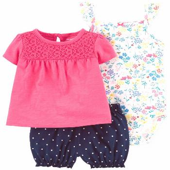Carter's Baby Girls 3-Pc. Floral-Print Cotton, Eyelet Top & Dot-Print Shorts Set - Pink