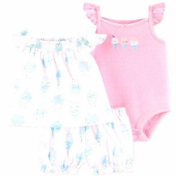 Carter's Baby Girls 3-Pc. Ice Cream Cotton Bodysuit, Shirt & Shorts Set - White