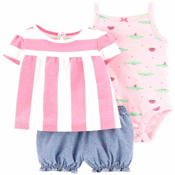 Carter's Baby Girls 3-Pc. Striped Cotton Top, Bodysuit & Shorts Set - Pink
