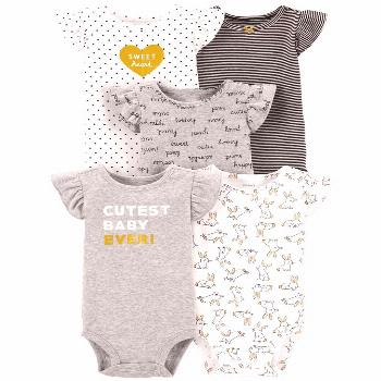 Carter's Baby Girls 5-Pk. Printed Cotton Bodysuits - Heather