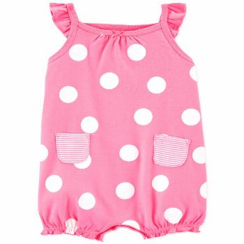 Carter's Baby Girls Dot-Print Crab Cotton Romper - Pink