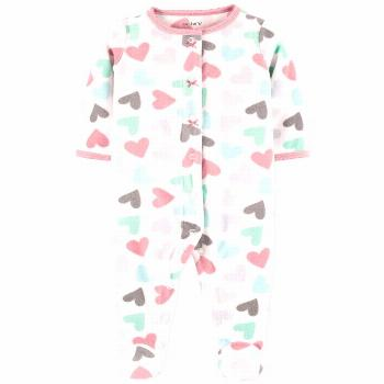 Carter's Baby Girls Hearts Fleece Sleep 'N' Play Footed Coveralls - White Multi