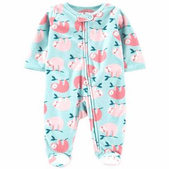 Carter's Baby Girls Sloth Fleece Sleep 'N' Play Footed Coveralls - Teal