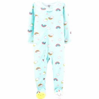 Carter's Size 3T Rainbow Zip-Front Footed Pajama In Mint