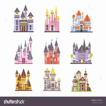 Castles and fortresses set, fairy medieval buildings vector Illustrations on a white background ,