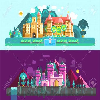 Castles horizontal banners with colorful antique palace and mansion in day and night time isolated