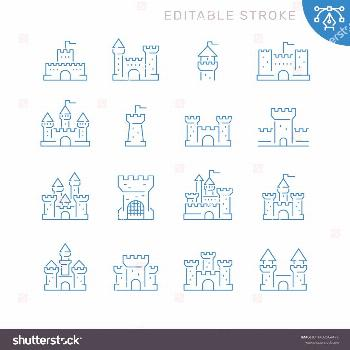 Castles related icons. Editable stroke. Thin vector icon set, black and white kit ,