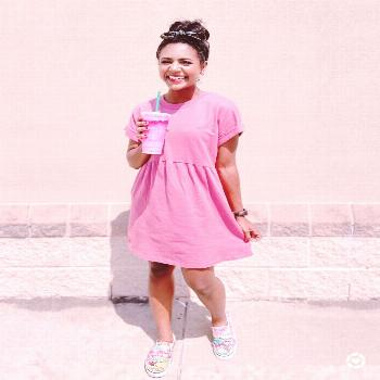 Casual Spring Outfit Pink t-shirt dress with vans