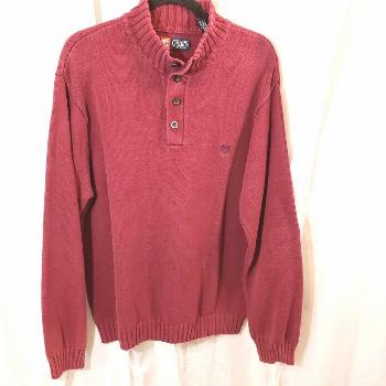 Chaps XL burgundy sweater relaxed fit mock button neck ribbed knit thick cotton
