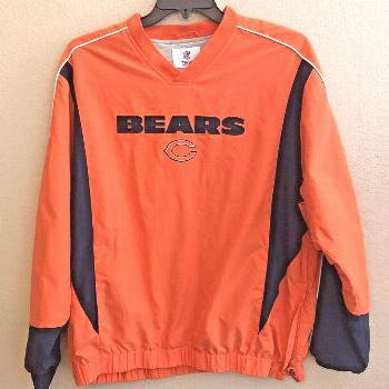 Chicago Bears Men's Large Athletic Pullover Jacket Lined Windbreaker NFL Sewn