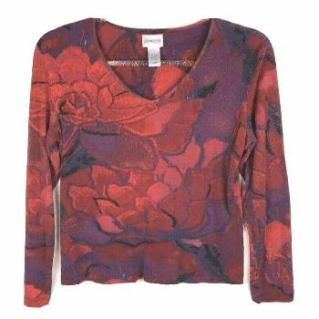 Chico's Women's Size 1 Medium Shirt Floral V-Neck Rayon Spandex Red Purple