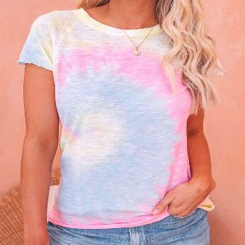 Colorblock Short Sleeve Casual T-shirt Style:Brief Pattern Type:Colorblock Material:Polyester Neckl