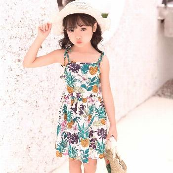 Dress Kids Girls Summer Pineapple Printed Beachwear Princes Strap Child Clothes