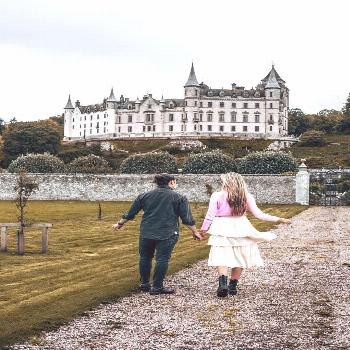 Dunrobin Castle in the Scottish Highlands, Scotland.  The beautiful Dunrobin castle is an iconic st