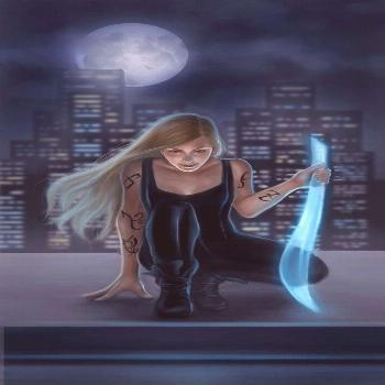 Emma Carstairs holding a seraph blade, because Cortana wouldn't be as cool as a light source. Emma