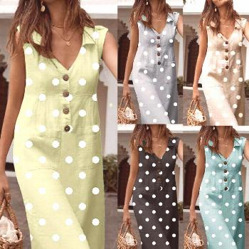 Fashion Women Sleeveless Print V-Neck With Buttons Party Mid Dress Plus Size