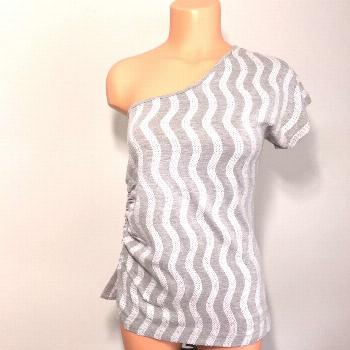Fleurish One Shoulder Gray Sequin Top M