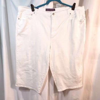 Gloria Vanderbilt Plus 24w white denim jeans Amanda Capri cropped pant stretchy