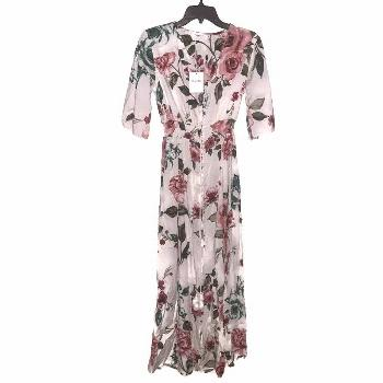 Haute Edition Womens White Button Up Floral Print Party Maxi Dress Size S
