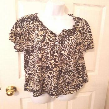 KIM ROGERS PETITES Womens Top Peasant Short Sleeve Animal Print Petite Large
