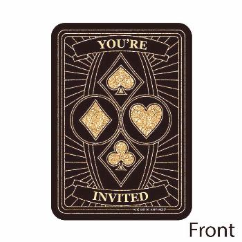 Las Vegas - Shaped Fill-In Invitations - Casino Party Invitation Cards with Envelopes - Set of 12 |