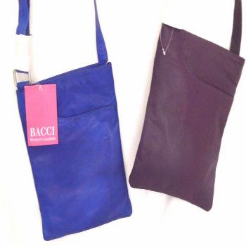 Lot of 2 Bacci Cross Body Leather Bags Purple/Blue Front Pocket Adjustable Strap