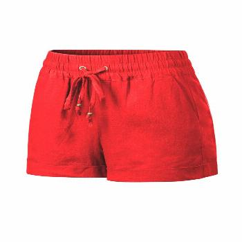 Made by Olivia Women's Drawstring Elastic Waist Casual Comfy Cotton Linen Beach Shorts Red L