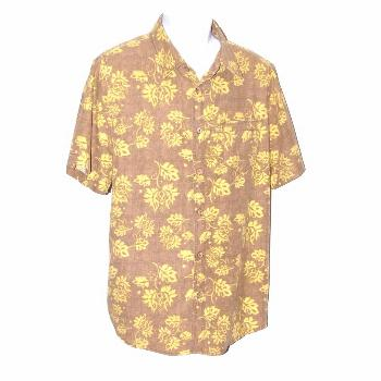 Margaritaville Jimmy Buffett Mens Silk Blend Shirt Large Brown Yellow Floral BBQ