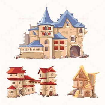 Medieval Castles And Buildings Vector Set