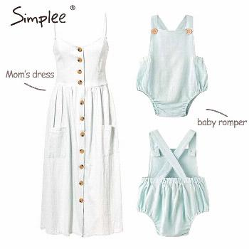 Mom and children informal button gown Stable matching mother child household garments outfits... Mo