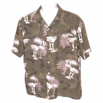 Montage Martinis Men's Casual Shirt Large Green Tropical Hawaiian Print