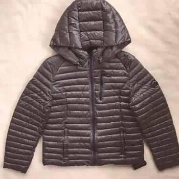 NAUTICA Womens Puffer Coat Packable Hooded Lightweight Jacket Grey NWT LARGE