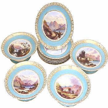 One Kings Lane Vintage Hand-Painted Castles Dinner - Svc. for 10 - Rose Victoria - blue/gold/multi