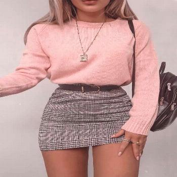 Plaid Skirt With Pink Sweater ★ Cute casual back to sch...#casual
