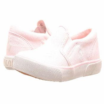 Polo Ralph Lauren Kids Bal Harbour Repeat (Toddler) (Light Pink Canvas/White PP) Girls Shoes. Kick