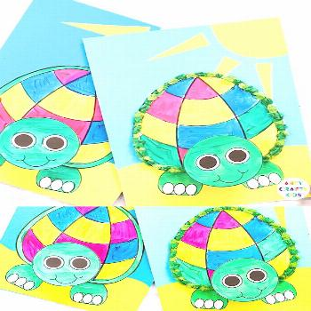 Printable Paper Turtle Craft for Kids - Dress -