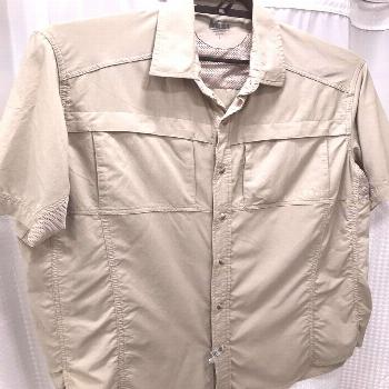 REI Co-op Safari Large Short Sleeve Lightweight Vented Button Khaki Shirt Mens
